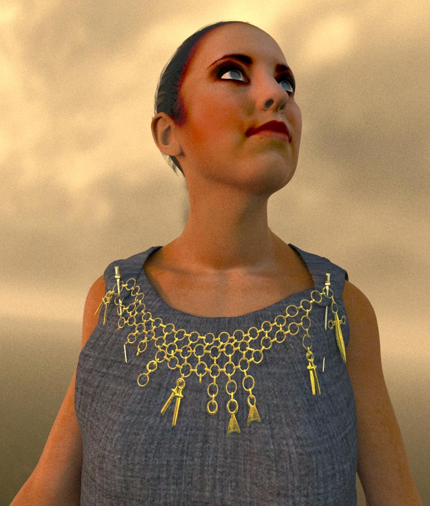 Reconstruction of a wealthy woman of the Urnfield period (around 1.000 BC) with a bronze necklace