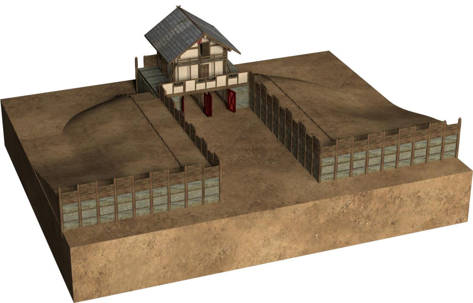 Reconstruction of Gate F of the late Celtic oppidum Heidengraben. The gate had probably a two-story gate building