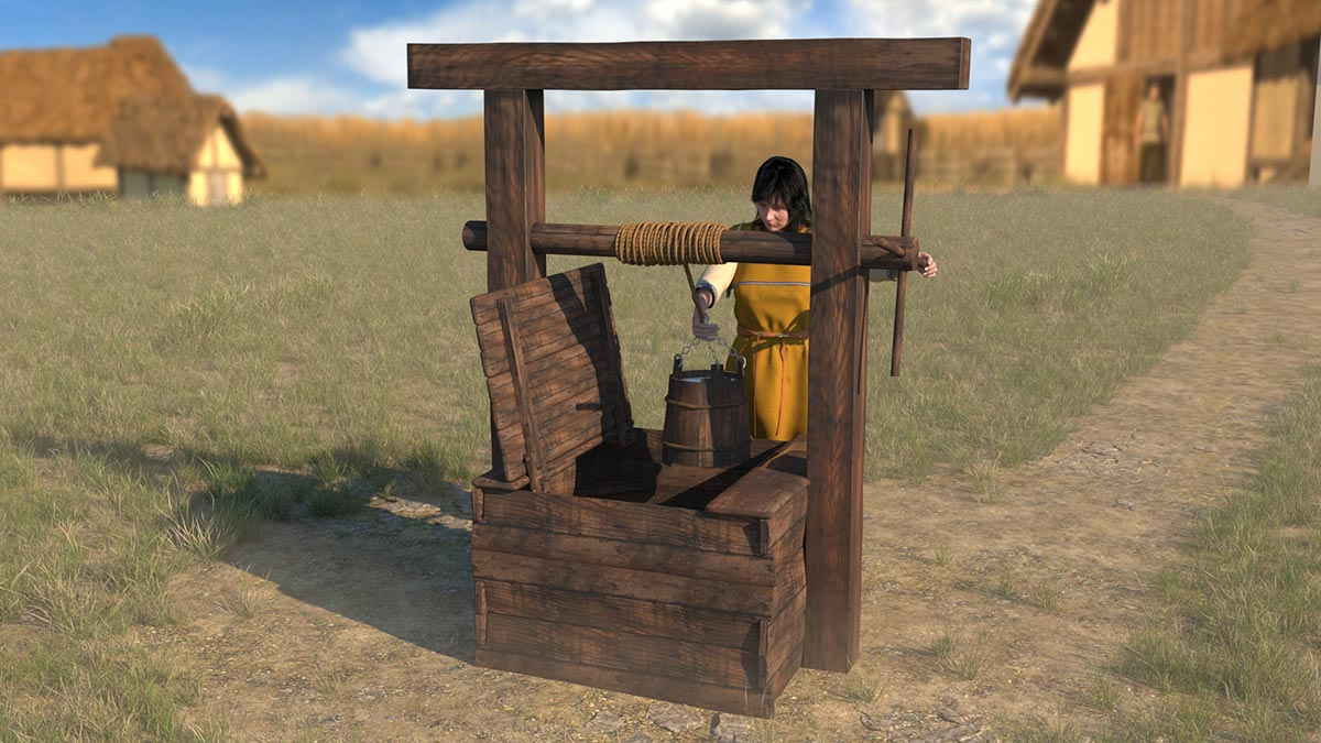 Reconstruction of a late Latène well (2nd/1st century BC), as it certainly existed at the Heidengraben (3dmuseum.eu).