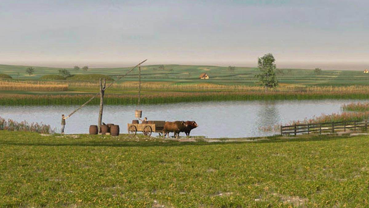 Digital reconstruction of a natural watering hole (Hüle) with a late Celtic draw well (3dmuseum.eu).
