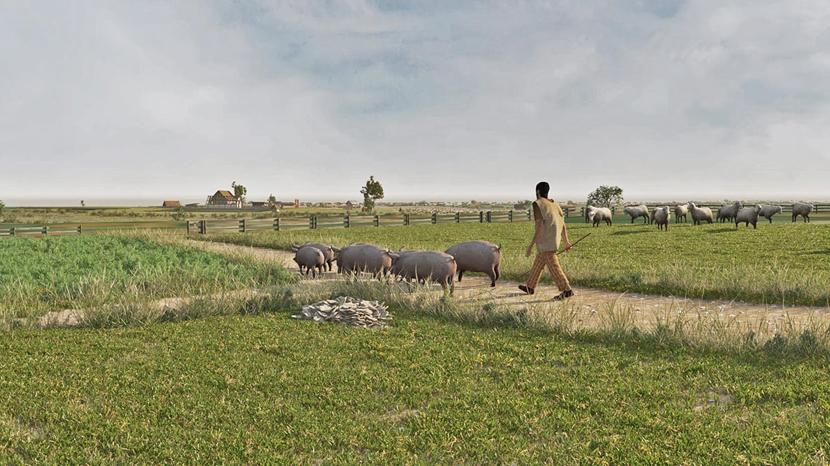 Pigs were driven to pasture and into the forest until recent times. Among other things, acorns and beechnuts served as food (3dmuseum.eu).