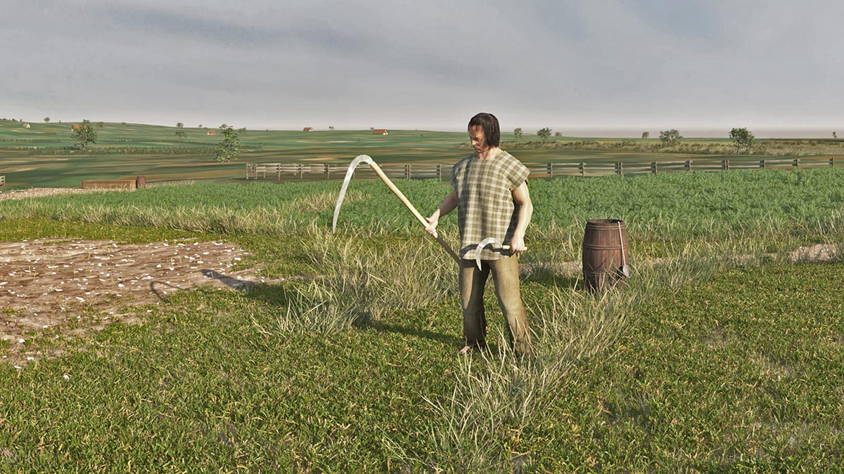 Late Celtic farmer with sickle and scythe. The scythe was used for grass cutting, the sickle for grain harvesting (3dmuseum.eu).