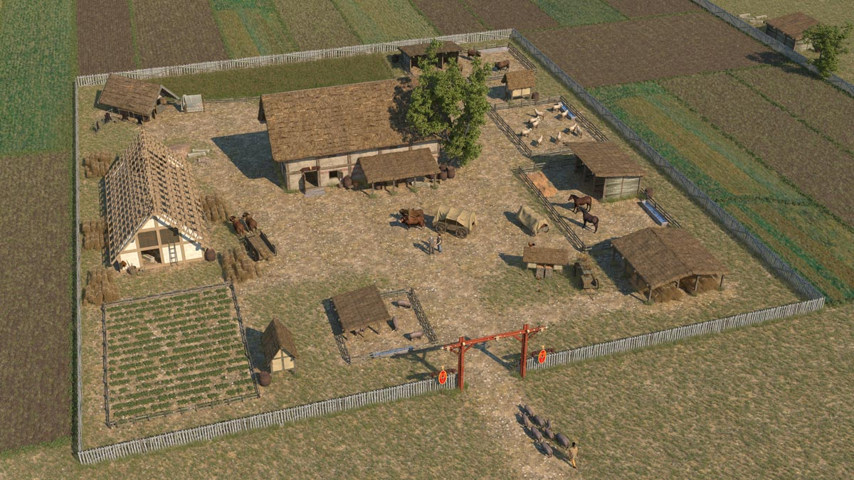 Reconstruction of a late Celtic manor with representative residential building, storage buildings and stables