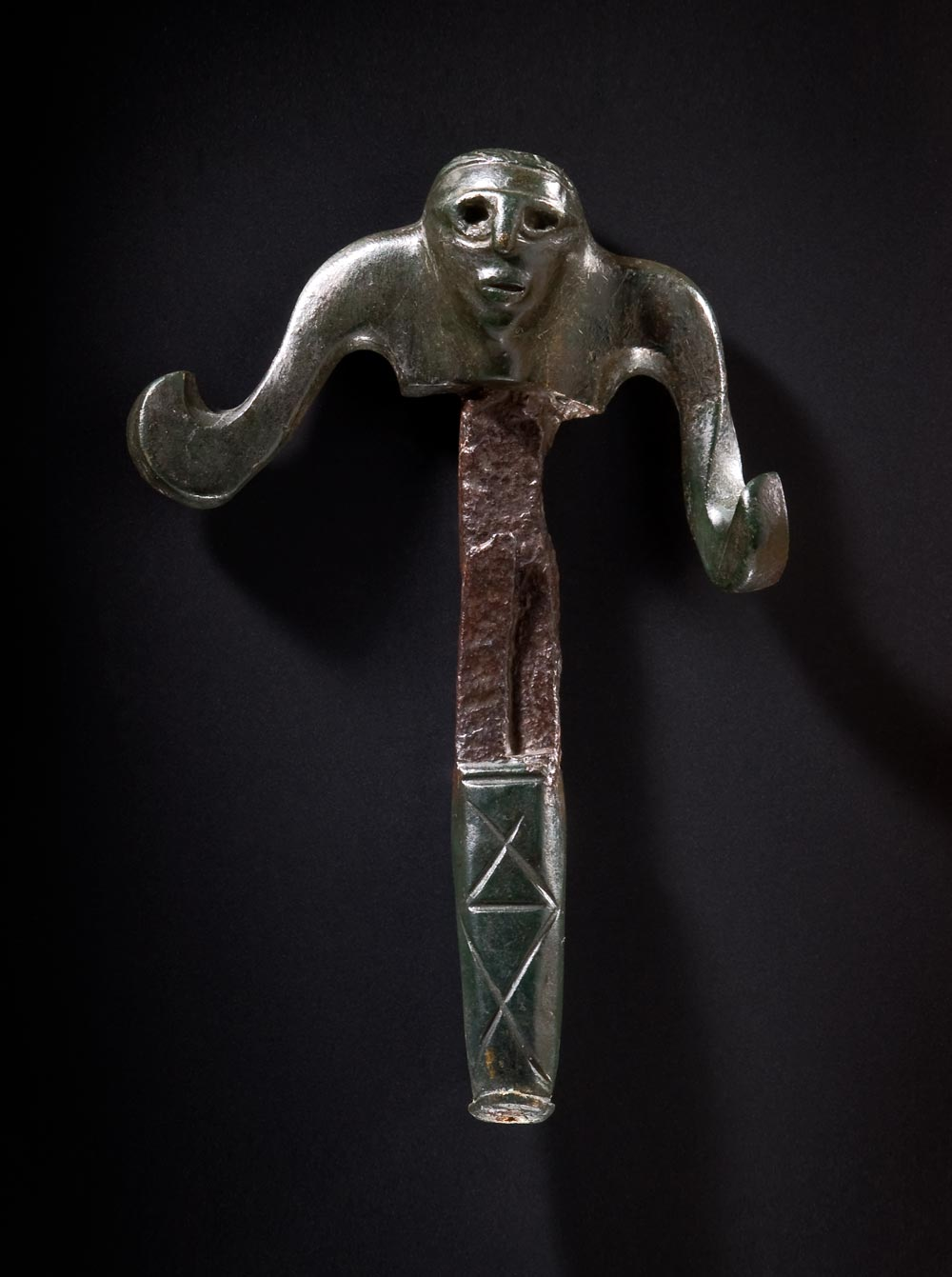 Unusual linchpin in form of a human, which once belonged to the chariot of a member of the late Celtic upper class
