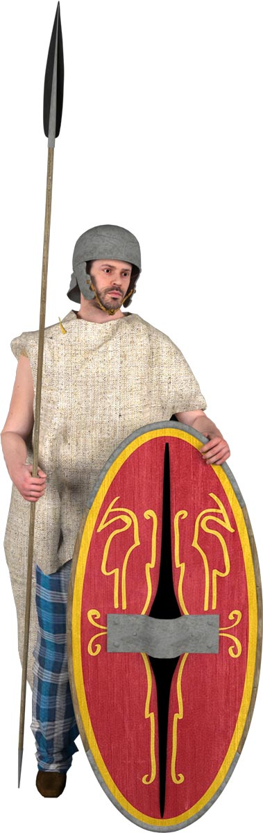 Gatekeeper of the late Celtic period (around 100 BC) with typical helmet, lance and shield.
