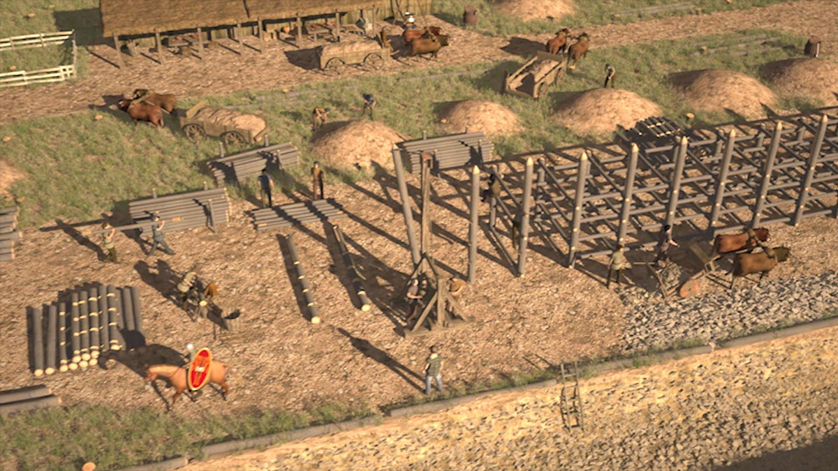 Construction of a late Celtic post-slot wall at the oppidum Heidengraben.