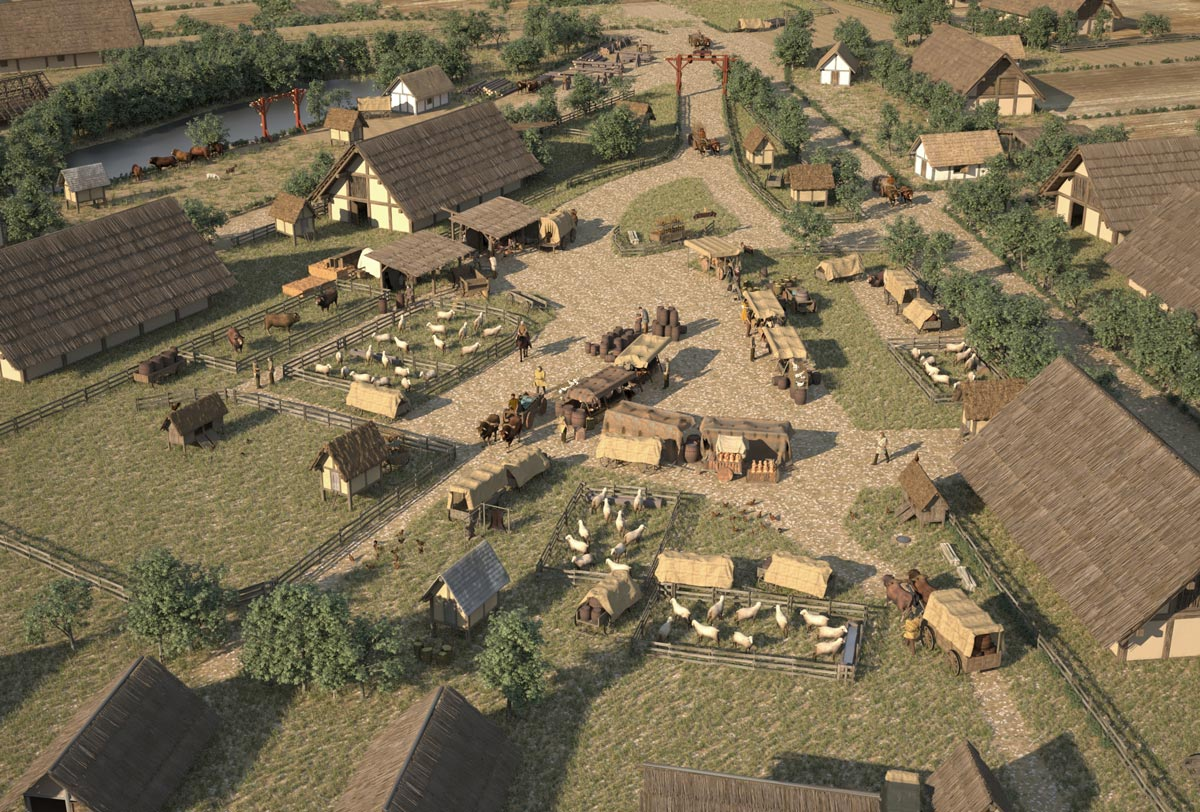 """Reconstruction of a marketplace in the """"Elsachstadt"""". Various merchants and craftsmen offer their goods here"""