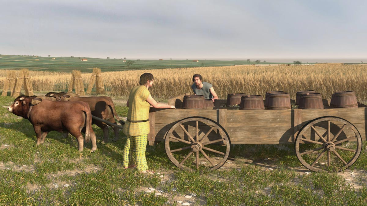 Transportation of water in wooden casks, which are a Celtic invention (3dmuseum.eu).